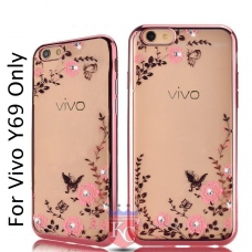 Auora Flower Case with Sparkle Crystals for Vivo Y69 Back Cover Rose Gold